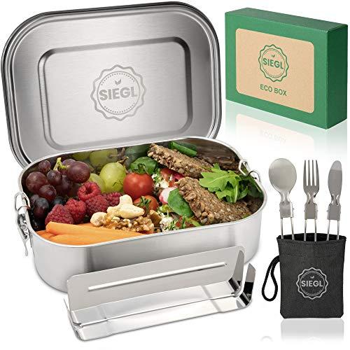 SIEGL® Eco Lunchbox | Premium Set | Brotdose Edelstahl mit GRATIS Besteckset | Auslaufsichere Brotdose mit Unterteilung für Kinder & Erwachsene | (1400ml)