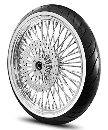 21X3.5 52 Fat Spoke Wheel for Harley Softail 2007-Above Models (W/ABS) w/Tire & Rotor (w/bolts) (All Chrome & White Wall Tire)