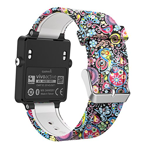 MoKo Band Compatible with Garmin Vivoactive, Soft Silicone Replacement Fitness Bands Wristbands with Metal Clasps fit Vivoactive/Vivoactive Acetate Sports GPS Smart Watch - Colorful Jellyfish