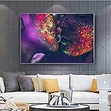 Geiqianjiumai Moderne Abstrait Amour Baiser Couleur Toile Peinture Affiches et Impressions Nu Art Photos Mur Peinture sur Toile sans Cadre Peinture 40X50 cm