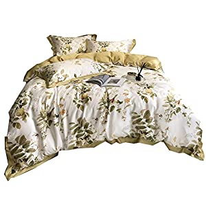 RoyalLinens 4 Piece Cool Summer Bedding Set Full Queen Size Duvet Cover Sets Tencel Silk Bed Sheets Flowers Leaves Print Bedclothes