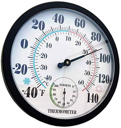 Indoor Outdoor Thermometer Large Wall Thermometer-Hygrometer Waterproof Does not Require Battery (Black)