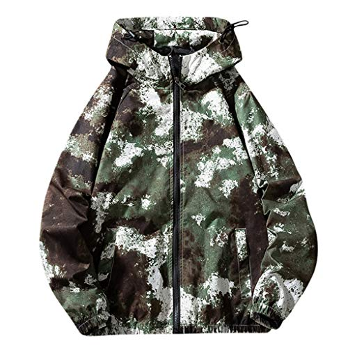 Realde Herren Langarm Kapuzenshirt Camouflage Bomberjacke Männer Leicht Sport Outdoor Windjacke mit Reißverschluss Coat Sweatshirt Mode...