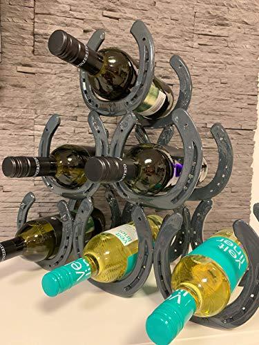 Hufeisen Weinregal, Farbe Anthrazit Flaschenhalter, ideales Geschenk für Pferdeliebhaber, für 6 Weinflaschen