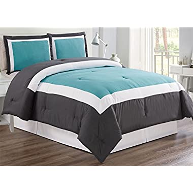 3 piece AQUA BLUE / DARK GREY / WHITE Goose Down Alternative Color Block Comforter set, QUEEN size Microfiber bedding, Includes 1 Comforter and 2 Shams