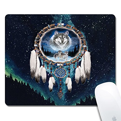 Gold Elk Marble Gaming Office Mouse Pad ZTtrade Durable Customized Non-Slip Rubber Mouse Pad-Rectangle. (Wolf Dreamcatcher)