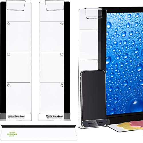 2 Pieces Monitor Memo Board (Left and Right) and 1 Piece Message Memo Pad Shelf Monitor Message Panel Monitor Sticky Note Transparent Memo Board Phone Holder Board for Monitors Screen Cabinets