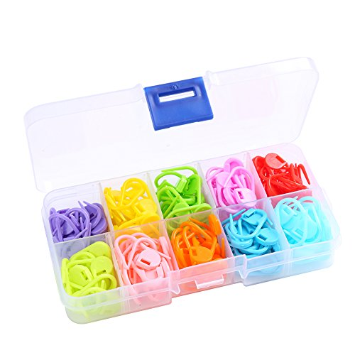 Heirtronic 140 Pieces Assorted Color Crochet Locking Stitch Markers Knitting Stitch Counter Needle Clip with Storage Case,10 Colors