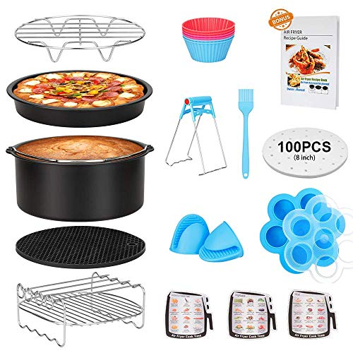 15 Pcs Air Fryer Accessories with Recipe Cookbook for Growise Phillips Cozyna Fits All 3.2QT - 5.8QT Air Fryer, 7in Deep Fryer Accessories (Renewed)