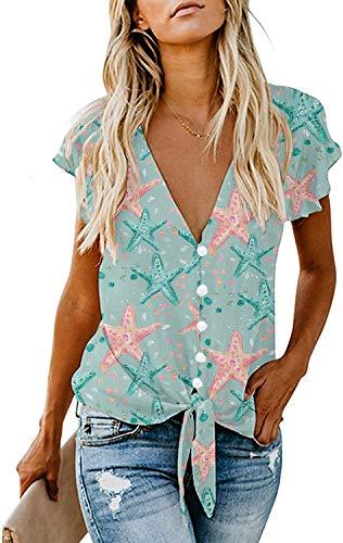 Women Short Sleeve Crop Top V Neck Tie Front Starfish Shirt Button Down Summer Blouse Starfish XL