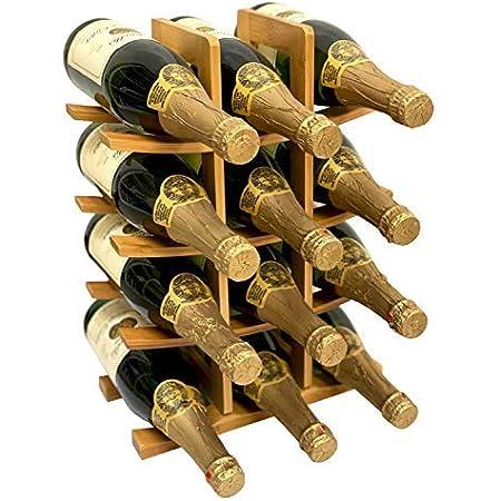 12 Bottle Samurai Style Stackable Modular Wine Rack Wine Storage Rack Solid