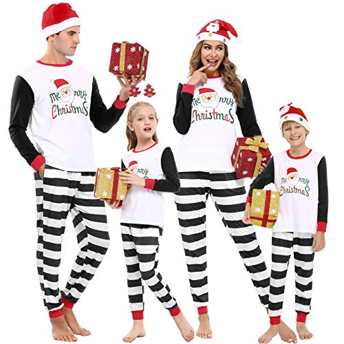 Aibrou Matching Family Christmas Pajamas Sets Dad Mom Baby Kid Holiday PJ Merry Christmas Printing Sleepwear
