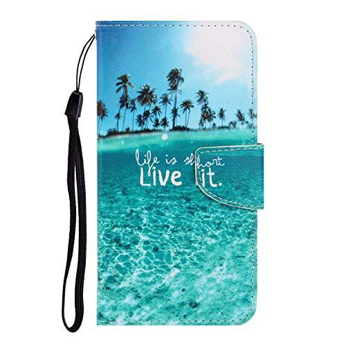 Nadoli Galaxy A51 Hülle,Meer Muster PU Leder Magnetisch Flip Brieftasche mit Handschlaufe Kartenslot Ständer Klapphülle für Samsung Galaxy A51