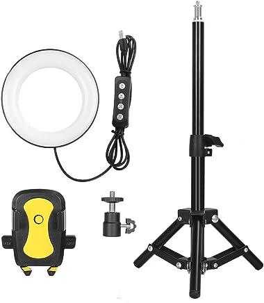 ライブストリーム/メイクアップ用三脚スタンド&携帯電話ホルダー付きSelfieリングライト
