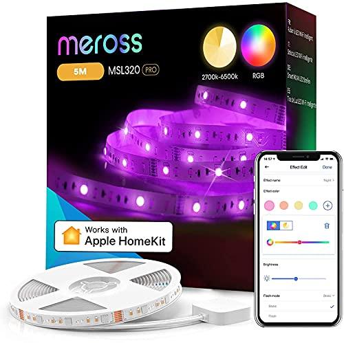 WiFi Tiras LED Inteligente, Meross 5M RGBW LED Tiras Funciona con Homekit Alexa Google Home, Tiras de Luces LED para Dormitorio Fiesta Decoración, 2700K-6500K Temperatura de Color Ajustable