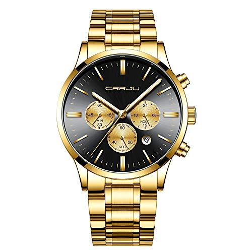 CRRJU Men's Stopwatches Multifunctional Chronograph Wristwatches,Stainsteel Steel Band Waterproof Watch (Golden Black)