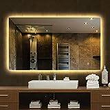 Miroir Lumineux carré rétro-éclairé à LED pour Salle de Bain Miroir Mural sans Cadre carré pour Salle de Bain Miroir Intelligent avec Miroir Anti-buée, Miroir de Maquillage (500 × 700/600 × 800MM)