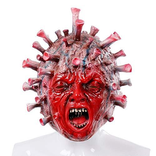 QINYUN Latex Full Head Masks, Horror Virus Bacterial Head Mask for Halloween Cosplay Party Decoration Carnival Costume