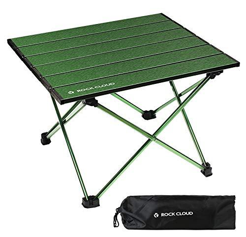 Rock Cloud キャンプテーブル折りたたみ アルミ ロールテーブル 超軽量 キャンプ テーブル 収納袋付き アウトドア ハイキング ビーチ バック パッキングに適用, 緑