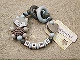 Baby Greifling Beißring geschlossen mit Namen - individuelles Holz Lernspielzeug als Geschenk zur Geburt Taufe - Jungen Motiv Fuchs und Herz in grau babyblau