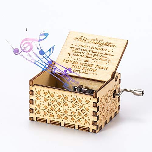 Hölzerne Spieluhr You Are My Sunshine Handkurbel Spieluhr Gravierte Spieluhr aus Holz Tolles Geschenk für Geburtstag, Weihnachten, Neujahr, Valentinstag (Vater zur Tochter)
