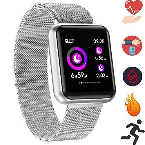 Fitness Armband mit Pulsmesser Wasserdicht IP67 Fitness Tracker Smartwatch Aktivitätstracker Pulsuhr Schrittzähler Uhr Sportuhr für Damen Herren Anruf SMS Beachten für iPhone Android Handy (Silber)
