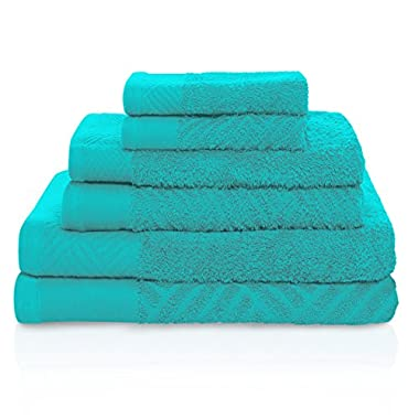 Superior 100% Egyptian Cotton 6-Piece Towel Set, Basket Weave Textured Jacquard, Super Soft and Highly Absorbent, 2 Bath Towels, 2 Hand Towels, and 2 Face Towels, Made in Egypt, Turquoise