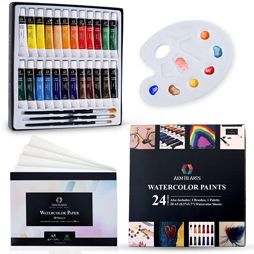 AEM Watercolor Paint Set - Washable Water Color Painting for Kids, Beginners, Art Students, Adults - Art Supplies Kit 24 Water Coloring Paint Tubes, Brush Set, Paper & Palette/Pan for Water Colors