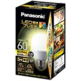 パナソニック LED電球 口金直径26mm プレミアX 電球60形相当 温白色相当(7.4W) 一般電球 全方向タイプ 密閉器具対応 LDA7WWDGSZ6AN