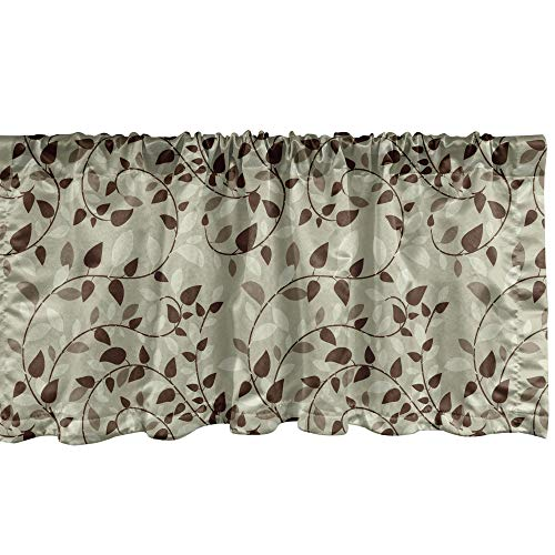 """Lunarable Leaf Window Valance, Pattern Vines Leafage Nature Curvy Branches Plants Garden Floral Illustrated Art, Curtain Valance for Kitchen Bedroom Decor with Rod Pocket, 54"""" X 18"""", Beige Brown"""