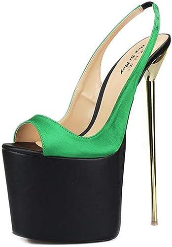 ZZNN Métal Enfer Plate-Forme Fête des Chaussures Femmes Bout Ouvert Escarpins Stilettos 8.7in Super Haute des Sandales,vert,50