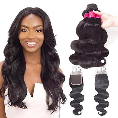 "VRVOGUE Remy Hair Bundles (18"" 20"" 22"" ) Brazilian Body Wave With 16"" Lace Closure 4x4 Free Part ( Natural Black-330g/Lot-130% Density ) 100% Unprocessed Brazilian Virgin Human Hair Weave Extensions"