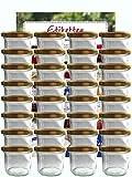 hocz Vorratsgläser-Sturzgläser Set | Menge 25 Stück | Füllmenge 125 ml | inkl. Schraubdeckel Deckelfarbe Gold 25 Etiketten | Allrounder für Marmeladengläser Haushaltsetiketten beschriften Gläser