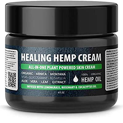 Hemp Labs Naturals All-in-One Skin Cream for Eczema, Psoriasis, Dermatitis and Rashes. Natural Ingredients Arnica, MSM, Glucosamine, Boswellia Serrata, Aloe Vera & Avocado Oil by Hemp Labs Naturals