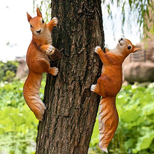 KINGEE Gartenfigur Figuren Dekoration Eichhörnchen Gartendeko Aus Kunstharz Für Außen Garten Wasserdicht Harz, Tier Figur Für Feengarten Balkon Terasse Geschenk,Set