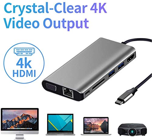 Bnoeo USB C Adapter 8 in 1 USB C Hub Dual Display Dockingstation mit 4K HDMI, VGA, 2 USB 3.0, 100W PD, Gigablit Ethernet, SD/TF Kartenleser, 3,5 mm Audio Fuer MacBook Pro 2020/2019/2016