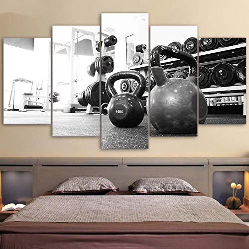 BXZGDJY Leinwand Malerei Moderne Bilder Drucke Home Wandkunst 5 Stück Russische Hantel Poster Fitnessstudio Ausrüstung Boy Room Decor 200X100CM Bild Bilder auf Leinwand 5 teilig Poster für Home Woh