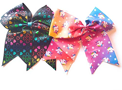 Saus Large Unicorn Hair Bows Elastic Ribbon Band for Girls Mix Colors Pack of 2