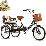 Triciclo per adulti da 20 pollici a 3 ruote bici pieghevoli per bicicletta sedile comodo, cestino...