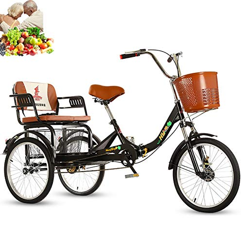 Tricycle Adult 20inch 3-Wheel Bicycle Folding Bikes Comfortable seat, Rear Enlarged Food Basket, Single Chain, Shock-Absorbing Front Fork for Parents to Pick up and Drop Off Children Load 200kg