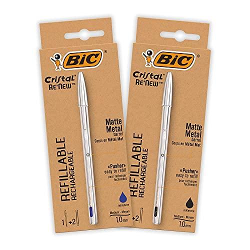 BIC Cristal Re'New Penna a Sfera Metallo, Ricaricabile, Colore Blu e Nero, Confezione da 2+4 Ricariche, Set Penne per Scrivere in Ufficio e a Casa