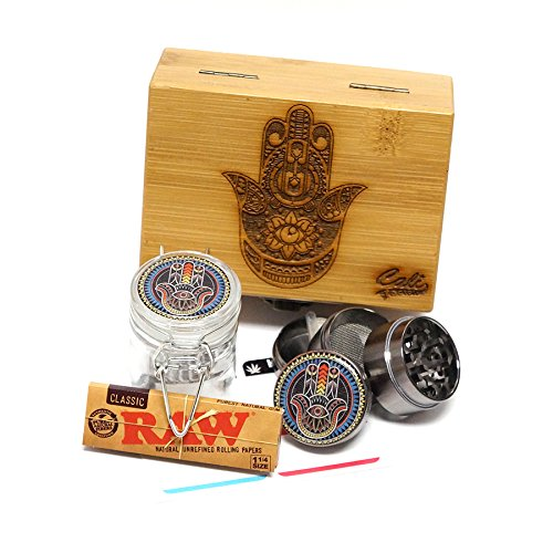 "Cali Factory Hamsa Laser Etched Sacred Geometry Stash Box, 1.6"" Zinc Alloy Grinder, Small Stash Jar - All in ONE Box Package Item# WBCS111617-5"