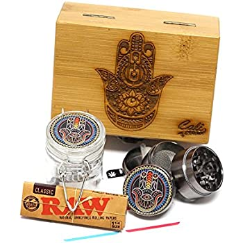 """Cali Factory Hamsa Laser Etched Sacred Geometry Stash Box, 1.6"""" Zinc Alloy Grinder, Small Stash Jar - All in ONE Box Package Item# WBCS111617-5"""