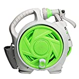 Mini Garden Hose Reel Cart with 50 FT Hose, Lightweight Hideaway Hose Reel Box, Retractable Hose Reel with 7-Function Spray Nozzle for Car Patio Cleaning, Watering Backyard/Garden, Shower Pets (GREEN)