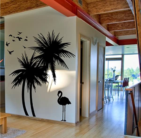 Digiflare Graphics Palm Trees 6 Ft Wall Decal With Flamingo And Birds