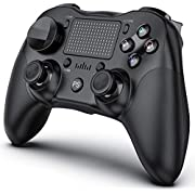 PS4 Controller Wireless, GENESS PC Controller Wireless Touch Panel Gamepad Joystick PS4 Controllers for PRO/Slim/PC/PlayStation 4 Controller Wireless with Dual Vibration/Anti-Slip Grip/Audio Function