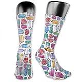 Ahdyr Calcetines unisex de longitud media, calcetines de compresión con piedras preciosas de acuarela, calcetines de tripulación, mujeres, hombres, mejor atlético, vuelo, viaje, embarazada
