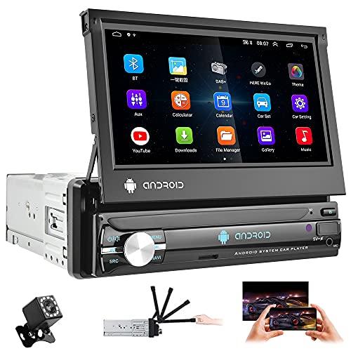 Android 1 Din Autoradio Bluetooth con Navigazione GPS (1G+16G) 7 pollici Touch Screen MP5 Car Multimedia Player Wifi Car sterteo, supporta Mirror Link, FM RDS DVR USB AUX RCA Fotocamera di Backup
