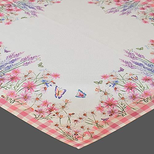 Kamaca - Tovaglia centrotavola con motivo floreale di alta qualità con meravigliosi fiori – Un gioiello su ogni tavolo in primavera estate (tovaglia 85 x 85 cm, fiori e farfalle)