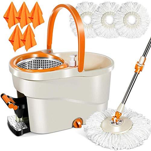 MASTERTOP Wischer Set Schleuder mit 3 Moppköpfen und 5 Tücher, Putzeimer mit Wischmop, Bodenwischer Easywring Spin Mop für Boden Reinigung (Orange und Weiß)